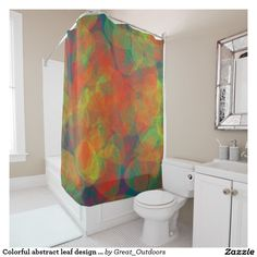 Colorful abstract leaf design shower curtain.