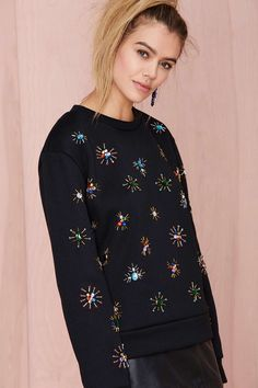 Jeweling Over You Beaded Sweatshirt Mais