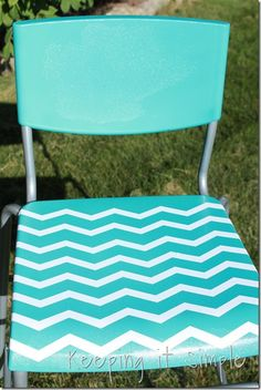 Keeping it Simple: Ikea barstool turned turquoise and chevron! How to paint plastic chair Ikea Chair, Diy Chair, Chair And Ottoman, Simple Furniture, Diy Furniture, Painting Furniture, Painting Plastic Chairs, Paint Plastic, Turquoise Bar Stools