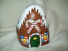 Painted River Rock Gingerbread House