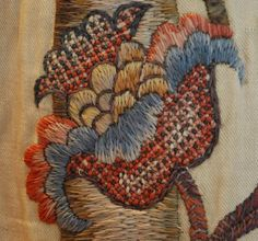 EGA Collection #270 consists of four crewel-embroidered bed hangings. Acquired by EGA in 1987, these panels were created in 17th century England. Each is about 87 inches tall and 40 inches wide and feature a variety of flora and fauna stitched in wool on twill fabric.
