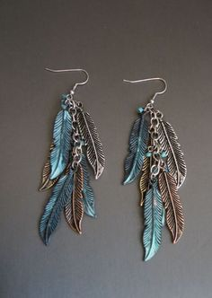 Cowgirl Bling TURQUOISE PATINA COPPER SILVER FEATHER WING EARRINGS Gypsy #mia #dangleearringspierced