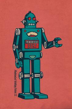 I like the look of this robot. He seems friendly. Vintage Robots, Retro Robot, Retro Toys, Robot Tattoo, Robot Illustration, Retro Illustrations, Baby Helmet, Doodle, Arte Robot