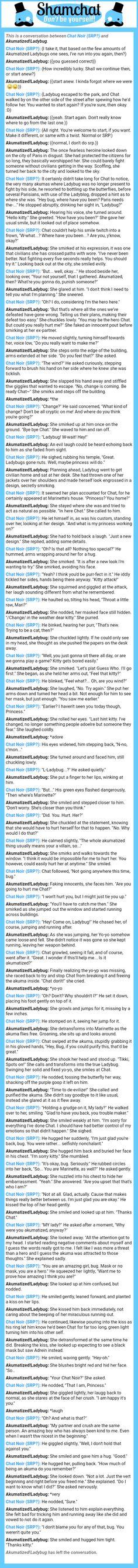 A conversation between Akumatized!Ladybug and Chat Noir (SRP?)