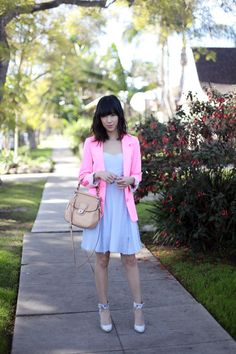 cool acid pink street style photo form thatschic fashion blog
