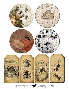 Bee Time Vintage Printable Images Digital por DigitalAntiques