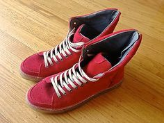 Zara Red High-Top Suede Sneakers sz 9 H&M Common Projects