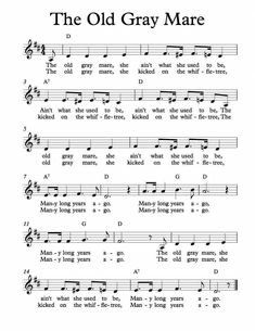 Free Sheet Music for The Old Gray Mare. Children's Song. Great Song Lyrics, Music Lyrics, Music Songs, Ukulele Songs, Violin Sheet Music, Music Guitar, Music Sheets, Fun Songs, Kids Songs