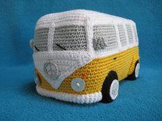 Amigurumi VW Camper Van Bus Volkswagen Inspired by Millionbells Crochet Amigurumi, Amigurumi Toys, Amigurumi Patterns, Crochet Yarn, Crochet Toys, Crochet Patterns, Half Double Crochet, Single Crochet, Van Hippie