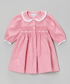 Look at this Pink Lace Smocked Dress - Infant on #zulily today!