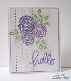 handmade greeting card Created by Lin ... paper pieced stylized roses from purple polka dot paper ..die cut HELLO in handwriting font ... column of embossing folder border design ... light and pretty card!