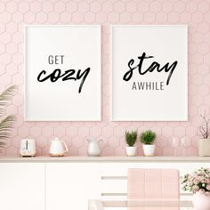 Get Cozy Stay Awhile Printable Art, Set of 2 Wall Art, Guest Room Prints, Living Room Wall Decor, St Bathroom Prints, Bathroom Art, Printing Websites, Online Printing, Stay Awhile Sign, Printable Art, Printables, Living Room Prints, Office Printers