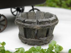 "Miniature Dollhouse Fairy Garden Accessories Rustic 1"" Wood Wooden Bucket"