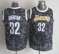Los Angeles Lakers 32 Magic Johnson Black City Luminous Jersey