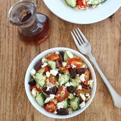 Greek Quinoa Salad Recipe. I think I will try adding cooked Lima beans or white beans.