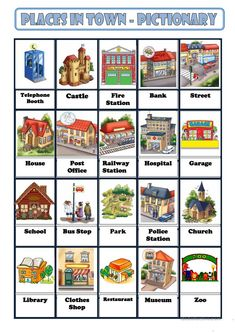Portuguese vocabulary - A cidade / City, town Portuguese Lessons, English Lessons, Learn French, Learn English, Community Helpers Preschool, Learn Brazilian Portuguese, Portuguese Language, Picture Dictionary, Flashcard