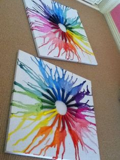 Melted crayon art...place crayons onto canvas, heat with a blow dryer to melt crayon and create design