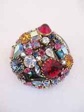 "Vintage Rhinestone Pin Brooch Ruby Red Sapphire Blue Pinks AB Stones 1 3/8"" D"