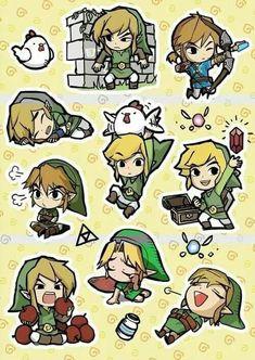 Hyrule Dynasties: every Link in chibi form The Legend Of Zelda, Legend Of Zelda Breath, Link Zelda, Geeks, Image Zelda, Hyrule Warriors, Wind Waker, Fan Art, Twilight Princess