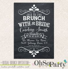 BRIDAL CHALK Custom Bridal Brunch Invitation Card on Etsy, $15.00