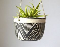 Pin for Later: 19 Etsy Shops to Boost Your Homes Cool Factor Waupecony River Studio If tribal planters and pottery is what youre after, viist Waupecony River Studio. Pots D'argile, Cerámica Ideas, Strawberry Planters, Decoration Plante, Modern Planters, Sgraffito, Pottery Designs, Painted Pots, Ceramic Planters