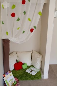 a little delightful: our new playroom : beneath the apple tree reading nook Classroom Setting, Classroom Design, Classroom Decor, Reading Nook Kids, Reading Time, Book Corners, Reading Corners, Home Daycare, Cozy Corner
