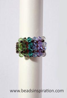 swarovski, beads, superduo, ring, anillo Bracelet Watch, Swarovski, Watches, Beads, Bracelets, Rings, Accessories, Fashion, Wrist Watches
