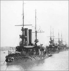 """Russian Imperial Navy coastal defence predreadnought battleships of the 3rd Baltic battleship division. The three ships of the Admiral Ushakov class can be seen.Circa 1900. """"AL"""""""