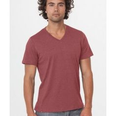 www.wearpact.com Mens Barn Red Heather V-Neck Tee. Super soft organic cotton. #wearpact