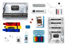 Minimergency Kit made especially for Moms works perfectly for a babysitter or nanny to use as well. Keep kids entertained with mini crayons and card deck. Includes 17 personal (and kinder) care items to prevent minor melt-downs.