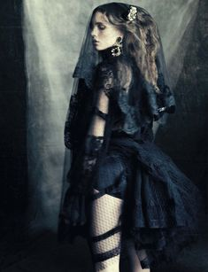 marine vacth photographed by paolo roversi & styled by jacob k. for vogue italia, october 2012 in Dolce&Gabbana