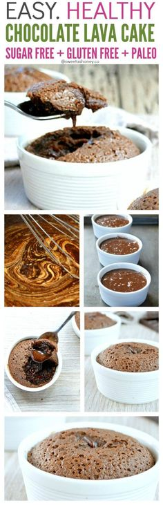 Easy Sugar Free Chocolate Lava Cake Recipe. A molten simple dessert, low carb, gluten free and perfect as a clean treat.