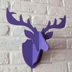 Wooden deer head / Животные ручной работы. Ярмарка Мастеров - ручная работа. Купить Деревянная голова Оленя (фиолетовая). Handmade. Фиолетовый, подарок мужчине