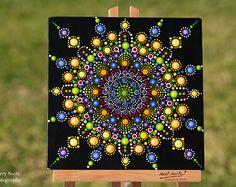 Colorato Mandala originale Dot quadro acrilico su tela bordo fantasia colorate opere d'arte