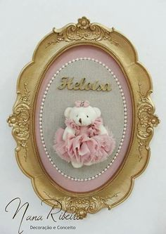Baby Crafts, Cute Crafts, Diy And Crafts, Letter A Crafts, Frame Crafts, Teddy Bear Party, Cold Porcelain Flowers, Baby Kit, Decoupage Vintage