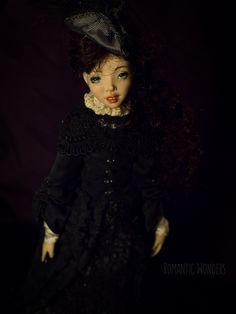 ''Lady'' handmade Ooak doll by Romantic Wonders Ooak Dolls, Art Dolls, Handicraft, Silk Dress, Goth, Romantic, Lady, Handmade, Decor