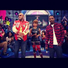 Flo-Rida on BET wearing the Pelle Pelle Varsity Patch Leather Jacket and Limited Edition Jean
