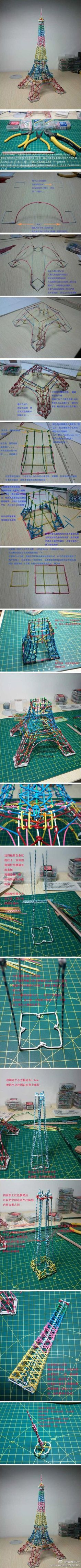 Eiffel Tower ~ paper clips tutorial, beyond cool!