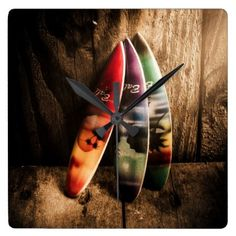#wood - #Bali beach surf holiday scene square wall clock