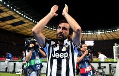 Andrea Pirlo of Juventus applauds the fans after the UEFA Champions League Final between Juventus and FC Barcelona at Olympiastadion on June 6, 2015 in Berlin, Germany.