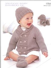Snuggly Jacket, Helmet, Hat & Bootiesfrom AnniesCatalog.com -- This baby knitting pattern will keep your little one cute & cozy all season long!