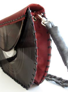 Recycled Vinyl Record & Leather Clutch / Handbag (Large)