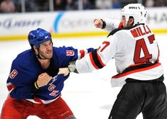 Go Get 'Em Prust!    Brandon Prust and Brad Mills talk things over in a Rangers-Devils game.    Read more: http://www.nydailynews.com/sports/hockey/rangers/fights-bitterness-dominate-ny-rangers-nj-devils-rivalry-games-article-1.1077571#ixzz1urILJnpO