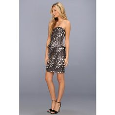 aa36e8a6 BADGLEY MISCHKA Gold Jacquard Strapless Peplum Dress #BADGLEY #MISCHKA  #Gold #Jacquard