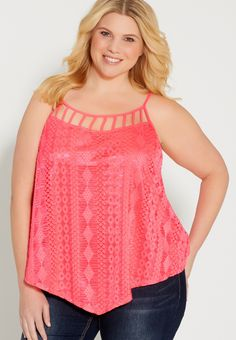 9df132a009e plus size tank with ethnic lace overlay and lattice neckline