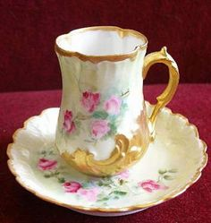 Limoges Porcelain Identification and Value Guide: Redon Limoges Chocolate Cup… China Tea Cups, Teapots And Cups, Chocolate Cups, Tea Service, My Cup Of Tea, China Patterns, Tea Cup Saucer, Bunt, Tea Party