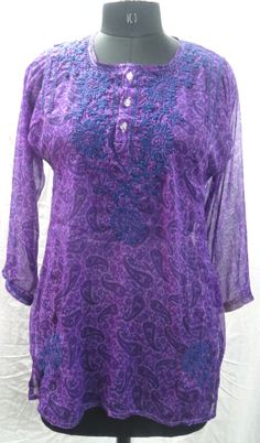 Indian Handmade Chiffon Chicken Embroidered Tunic Designer Purple Top Traditional Blouse $28.99