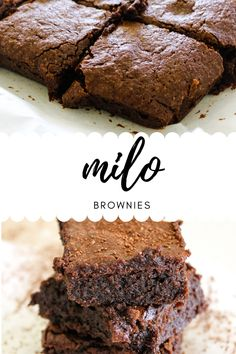 These Milo Brownies are a bit like regular chocolate brownies, but even better. The addition of Milo gives these brownies the most amazing taste and texture. Fudgy Brownie Recipe, Chocolate Brownies, Brownie Recipes, Chocolate Recipes, Cookie Recipes, Dessert Recipes, Milo Recipe, Biscuit Recipe, Sweet Desserts