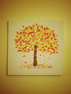 Autumn tree finger-painting