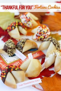 """These """"Thankful For You"""" Fortune #Cookies are such a #sweet treat for #Thanksgiving! holiday, fortune cookie recipe, thanksgiv fortun, autumn, fortun cooki, thanksgiving, cookies, cookie recipes, cooki recip"""